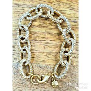 J. Crew pave stone link bracelet gold/clear stones